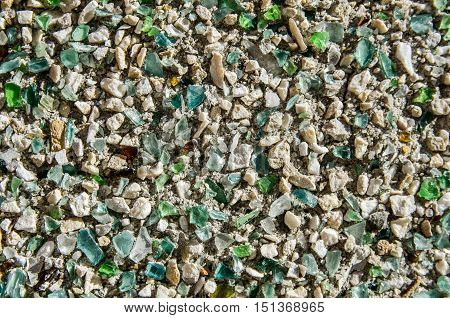Wall texture with glass stone and sand