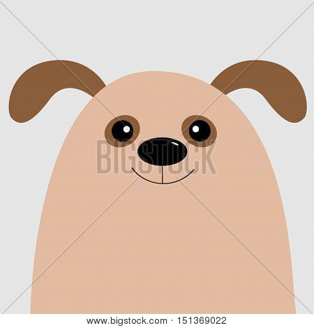Dog head. Cute cartoon character. Pet baby collection. Isolated. White background. Flat design. Vector illustration