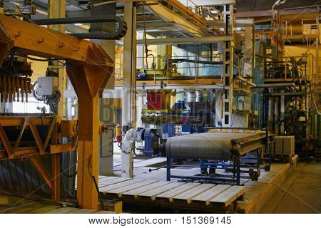 Industrial equipment in the premises of the factory