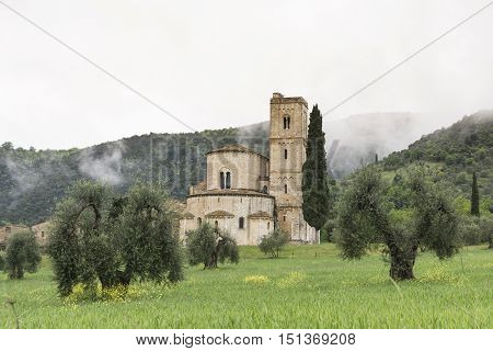 PIENZA,ITALY-APRIL 23,2016:View of the famous church on saint Antimo in the Tuscany countriside during a cloudy day.