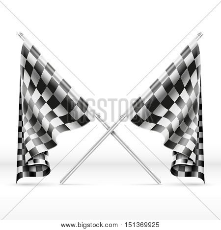 Black and white checkered crossed finish flags vector illustration. Finish signal in motorsport