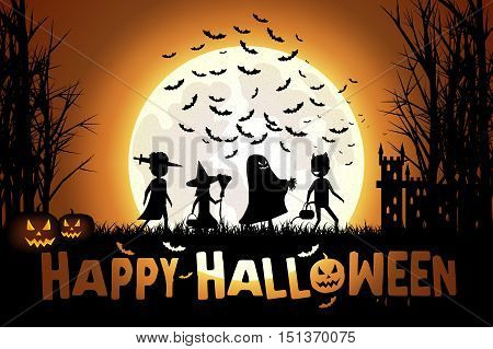 Illustration of Children in colorful costumes go trick-or-treating on Halloween