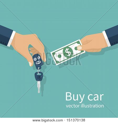 Buy car concept. Vector illustration flat design. Isolated on background. Rent auto. Man giving keys in exchange for money.