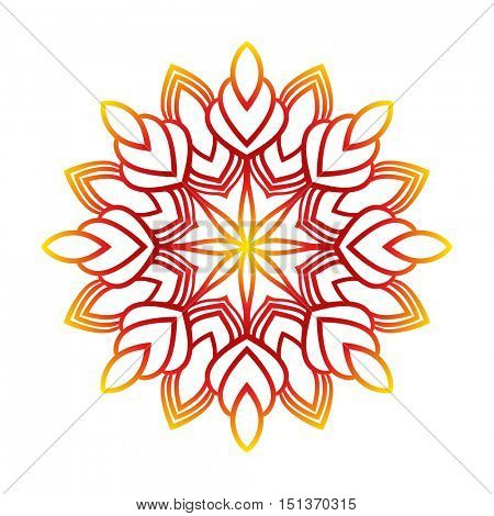 Round flower pattern Circular ornament design element Vector