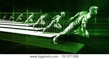 Leading the Way in a Corporate Business Team 3D Illustration