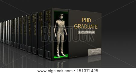 PHD Graduate Endless Supply of Labor in Job Market Concept 3D Illustration