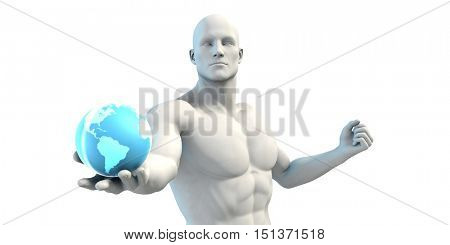 Businessman Working With Global Technology as Concept 3D Render
