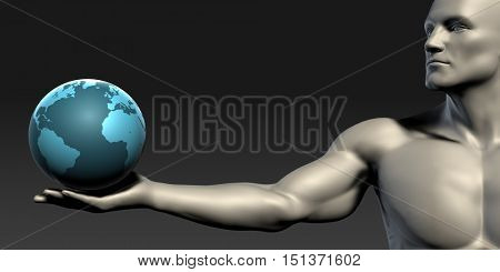 Globe with Open Palm Hand of a Man 3D Render