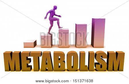 Metabolism 3D Concept  in Blue with Bar Chart Graph 3D Render