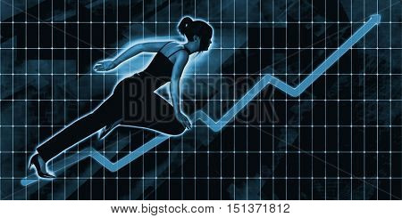 Asian Businesswoman Charging Ahead on Blue Background Art 3d Illustration Render