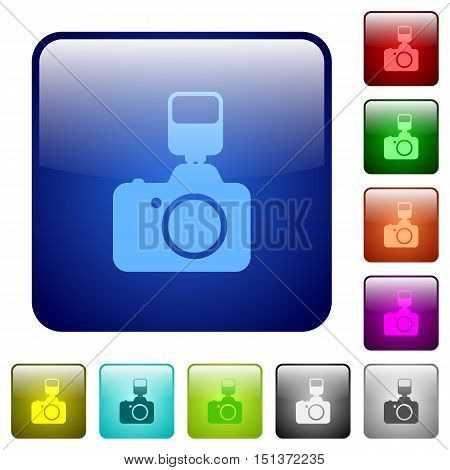 Set of camera with flash color glass rounded square buttons