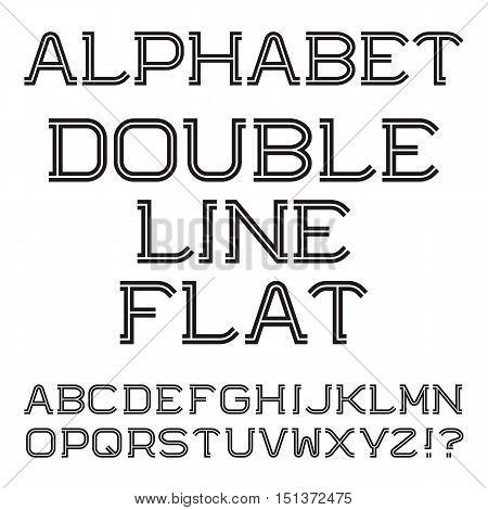 Black white capital letters. Double line flat font. Isolated english alphabet.