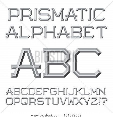 Gray faceted letters. Prismatic retro font. Isolated English alphabet.