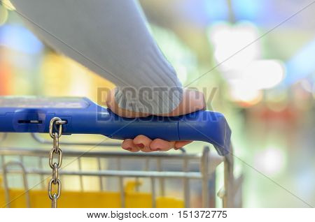Person Pushing A Trolley Through A Supermarket