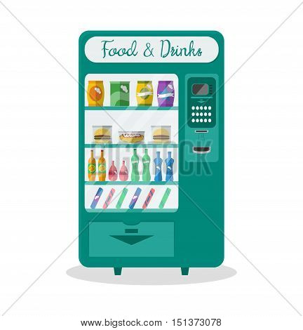 Flat automatic vending machine with food and drink. Snacks chips hamburger juice fast food. Object isolated on white. Vector illustration