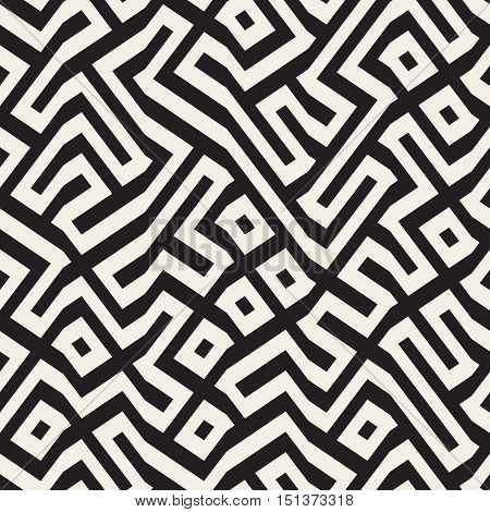 Vector Seamless Black And White Maze Lines Pattern. Abstract Geometric Background Design
