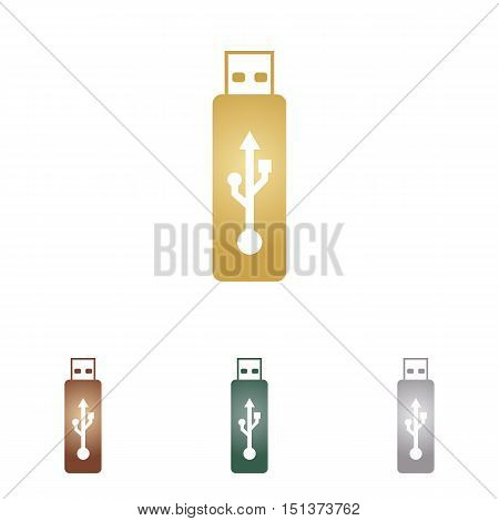 Vector Usb Flash Drive Sign. Metal Icons On White Backgound.