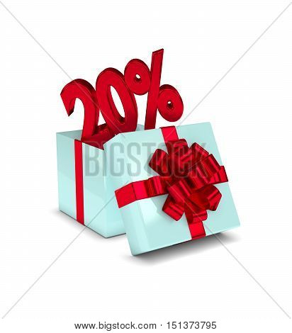 3D Rendering Of Gift Box With 20% Discount Isolated Over White