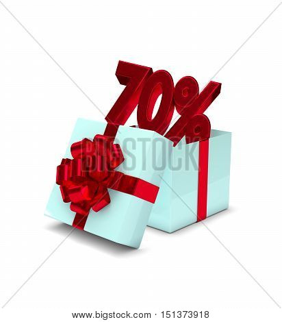 3D Rendering Of Gift Box With 70% Discount Isolated Over White