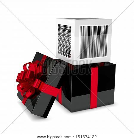 3D Rendering Of Gift Box With Discount Bar Code Isolated Over White