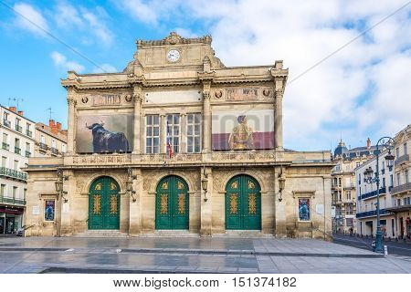 BEZIERS,FRANCE - AUGUST 27,2016 - View at the Municipal Theatre in Beziers. Beziers is a town in Languedoc in southern France.
