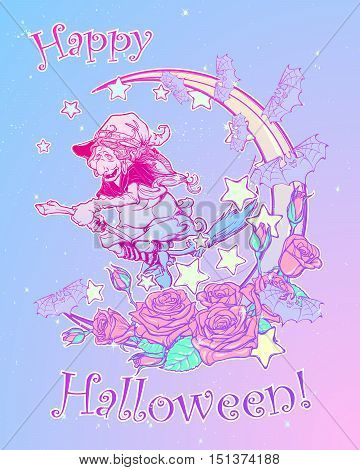 Halloween witch riding the broom. Crescent, stars and roses decorative composition on the background. Pastel goth palette. Comic style intricate hand drawing. Tattoo design. EPS10 vector illustration.