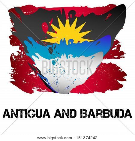 Flag of Antigua and Barbuda from brush strokes in grunge style isolated on white background. Independent state in North America within Commonwealth headed by Great Britain. Vector illustration
