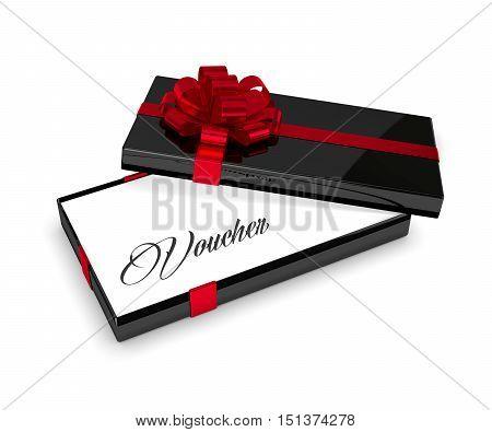 3D Rendering Of Voucher In Elegant Gift Box Isolated Over White