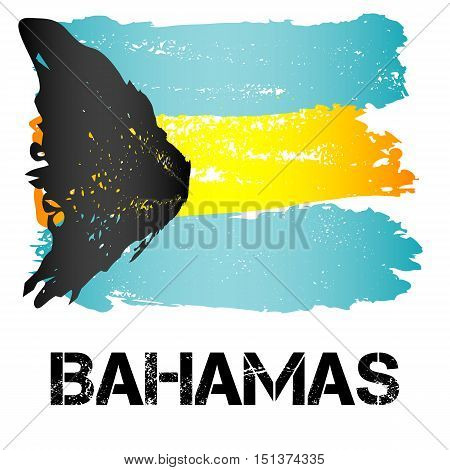 Flag of Bahamas from brush strokes in grunge style isolated on white background. Independent state in North America within Commonwealth headed by Great Britain. Vector illustration