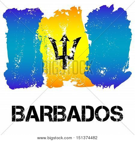 Flag of Barbados from brush strokes in grunge style isolated on white background. Independent state in North America within Commonwealth headed by Great Britain. Vector illustration