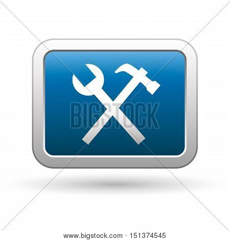 Tool icon on the button. Vector illustration