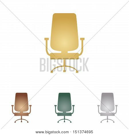 Office Chair Sign. Metal Icons On White Backgound.