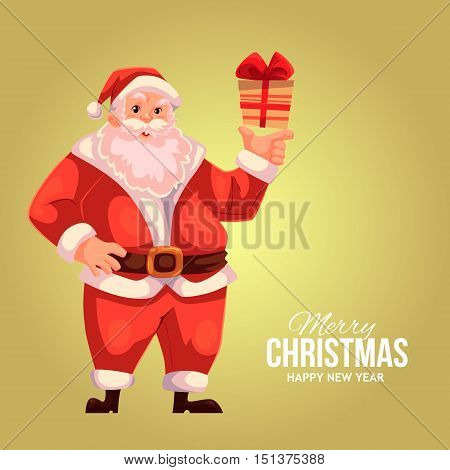 Cartoon style Santa Claus holding a small gift box, Christmas vector greeting gold card. Full length portrait of Santa holding a little present box, greeting card template for Christmas eve