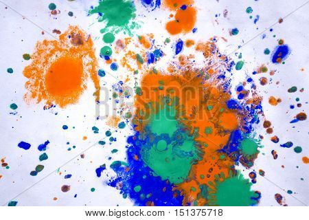 colorful blots on white paper close up abstract background