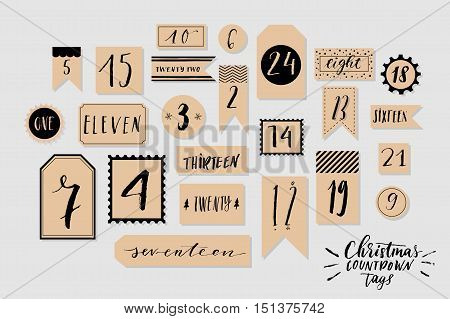 Craft paper and black colored twenty four christmas countdown printable tags collection. Count down till christmas kit. Advent calendar. Vector illustration