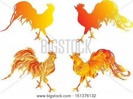 illustration with four red flame roosters as animal symbol of Chinese New year 2017 isolated on white background