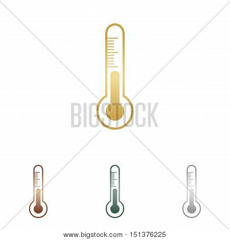 Meteo Diagnostic Technology Thermometer Sign. Metal Icons On White Backgound.