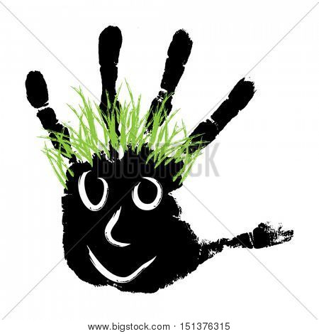 Vector conceptual cute paint human hand or handprint of child with happy face and hair isolated on white for childhood, fun, happy, infant, symbol, joy, kid, identity, education, school, little, young