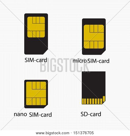 Sim card and SD card icons Isolated on White Background