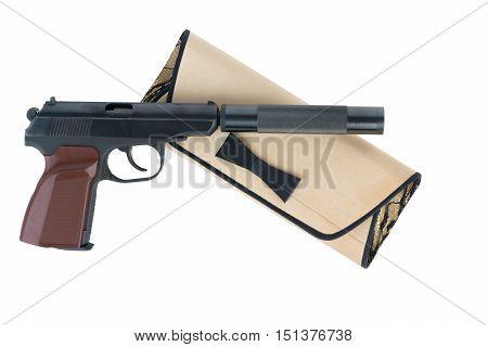 pistol with a silencer in the women's handbag