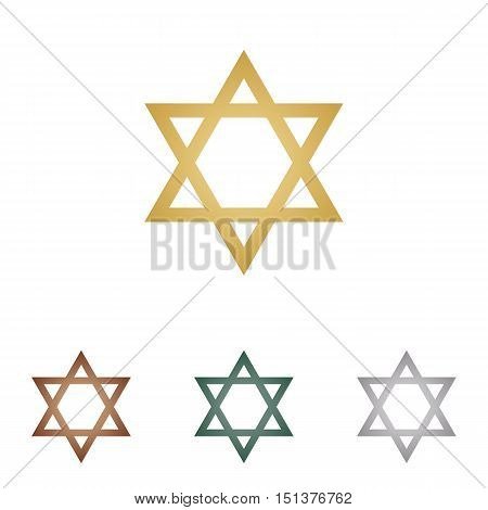 Shield Magen David Star. Symbol Of Israel. Metal Icons On White Backgound.