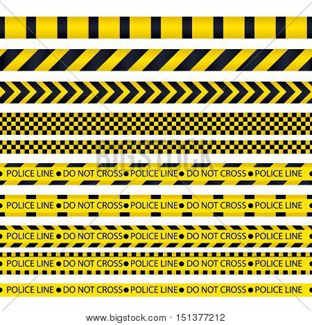 Yellow with black police line and danger tapes. Vector illustration