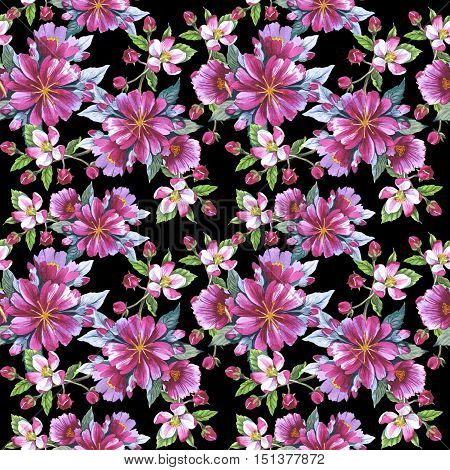 Wildflower rose flower pattern in a watercolor style isolated. Aquarelle wild flower for background, texture, wrapper pattern, frame or border.