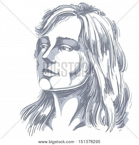 Vector portrait of attractive pensive woman thinking about something illustration of good-looking female. Person emotional face expression.