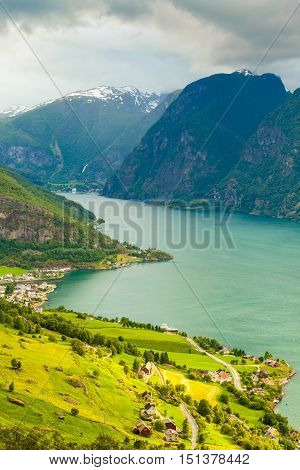 View Of The Fjords And Aurland Valley In Norway