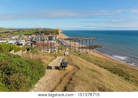 Coast path with seat West Bay Dorset uk the Jurassic coast