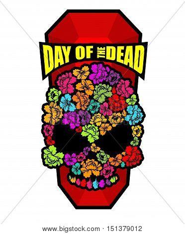 Skull Of Flowers For Day Of The Dead. Skeleton Head For National Holiday In Mexico. Floral Corpse
