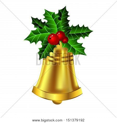 Christmas golden bell holly sprig and berries isolated on white