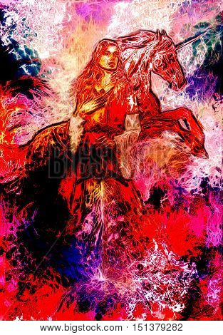 heroic woman in medieval dress with sword and unicorn, computer graphic, fire effect