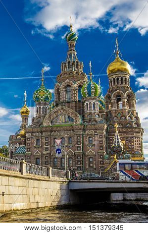 Cathedral of Our Savior on the Spilled Blood view from the canal Griboyedov 14 September 2016 Saint-Petersburg Russia